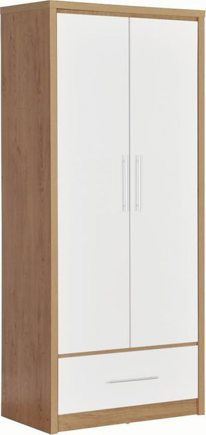 Seville 2 Door 1 Drawer Wardrobe in Oak and White High Gloss