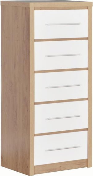 Seville 5 Drawer Narrow Chest in Oak and White High Gloss