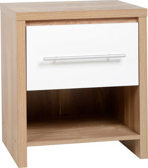 Seville 1 Drawer Bedside Cabinet in Oak and White High Gloss