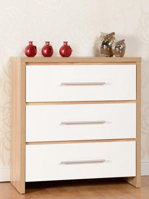 Seville 3 Drawer Chest in Oak and White High Gloss