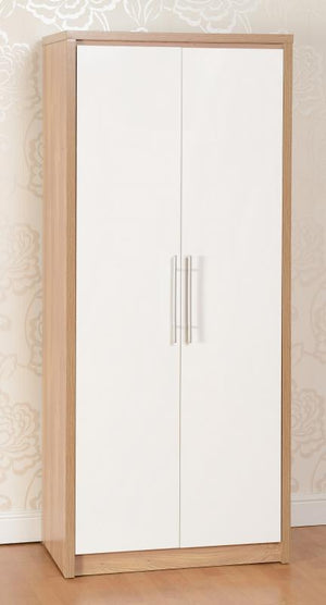 Seville 2 Door Wardrobe in Oak and White High Gloss