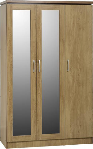 Calista 3 Door All Hanging Wardrobe in Oak Effect Veneer with Walnut Trim