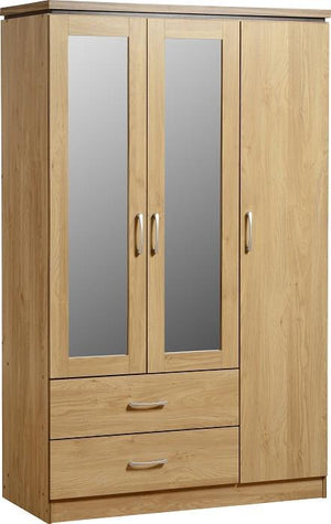 Calista 3 Door 2 Drawer Mirrored Wardrobe in Oak Effect Veneer or White - 1