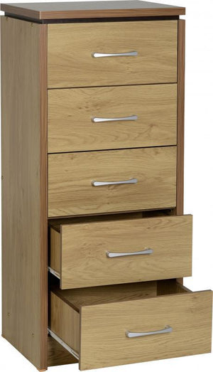 Calista 5 Drawer Narrow Chest in Oak Effect