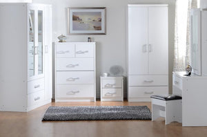 Calista 2 Door 2 Drawer Wardrobe in Oak Effect Veneer or White