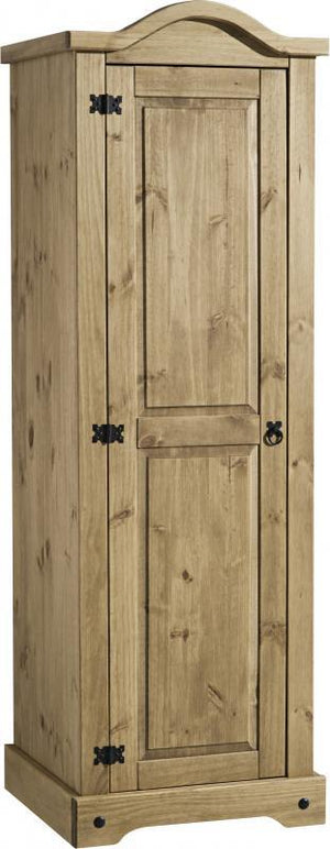 Corona 1 Door Wardrobe in Distressed Waxed Pine