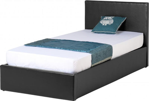 Waverley 3' Storage Bed in Black Faux Leather - 1