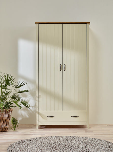 Norfolk Cream and Oak 2 Door Double Wardrobe