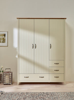Norfolk Cream and Oak 3 Door Triple Wardrobe