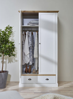 Sandringham White 2 Door 1 Drawer Double Wardrobe