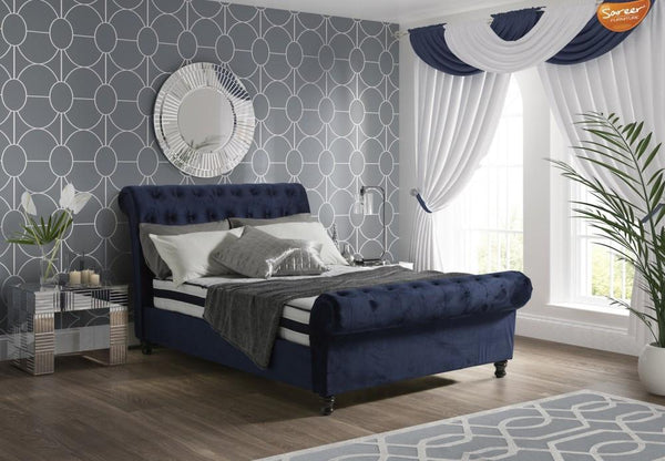 Sareer Fabio Royal Blue Upholstered Fabric Bed Frame
