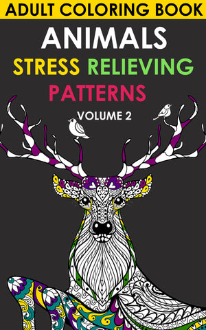 Adult Coloring Book. Animals. Stress Relieving Patterns   Volume 2 - best books on Ebooksy