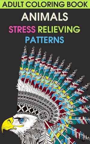 Adult Coloring Book. Animals.  Stress Relieving Patterns