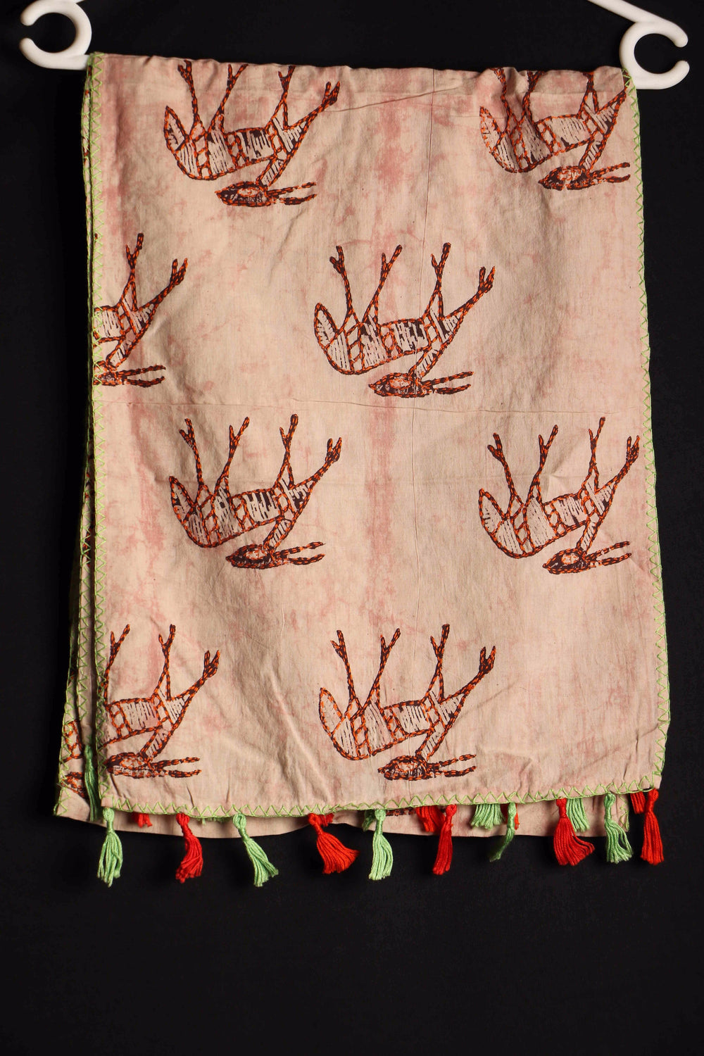 Deer Li I Sujani embroidered cotton stole
