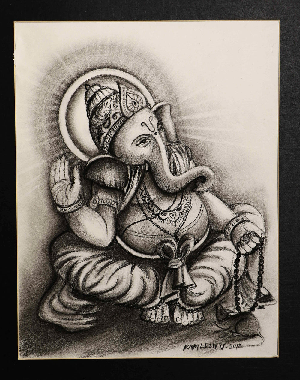 Charcoal sketch on paper Ganesha