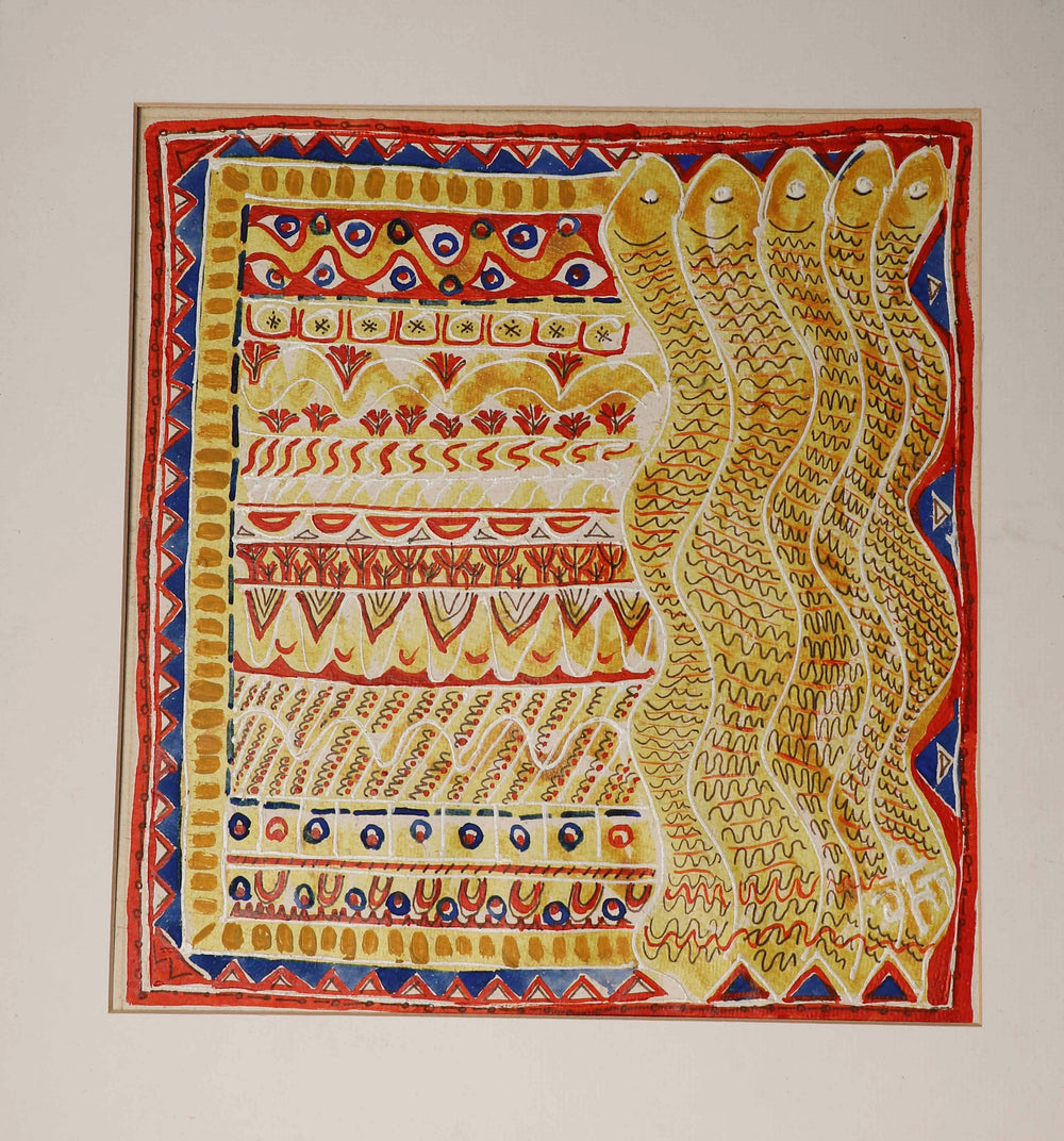 Rangoli wall art on paper with mount