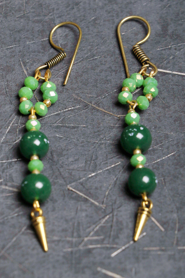 Green glass beads, interspersed with tiny green crystal earrings