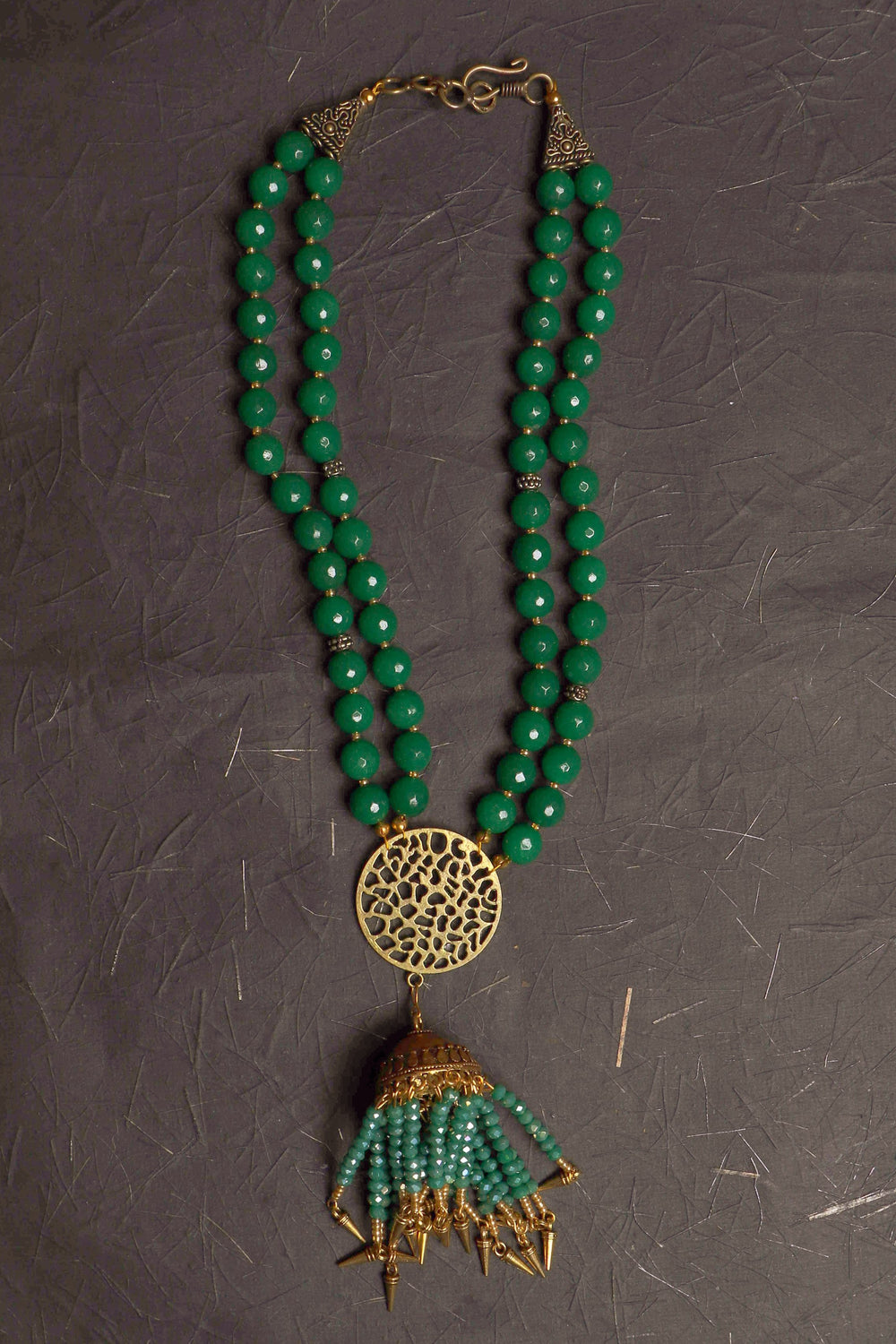 green onyx Jewelry necklace with double stranded green onyx beads, with a Mandala pendant