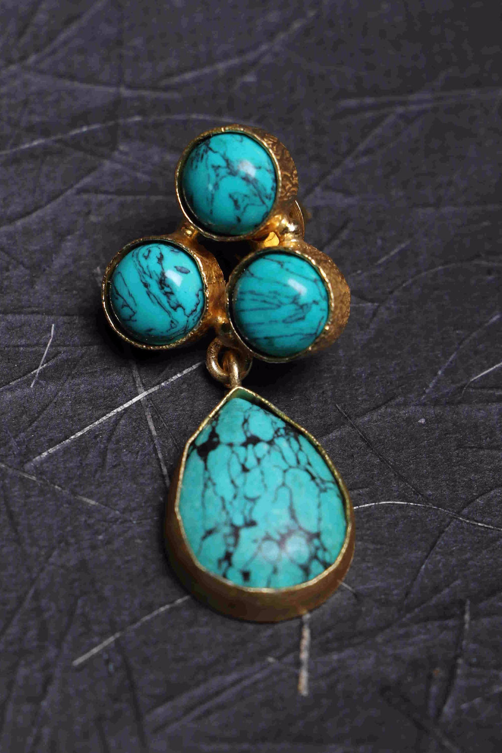 Aqua Shine I 14KT polished brass turquoise earrings b