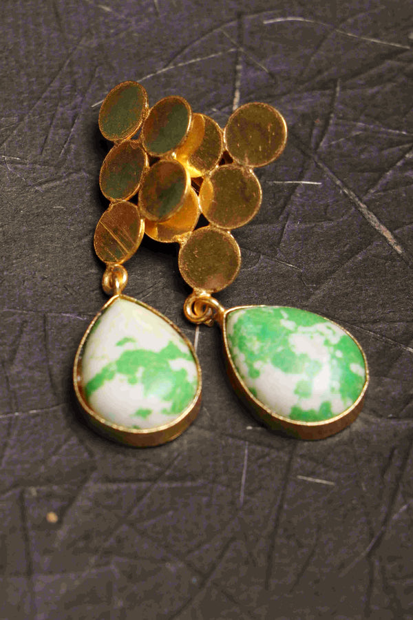 Precious Marble I 14KT polished brass shaded agate earrings a
