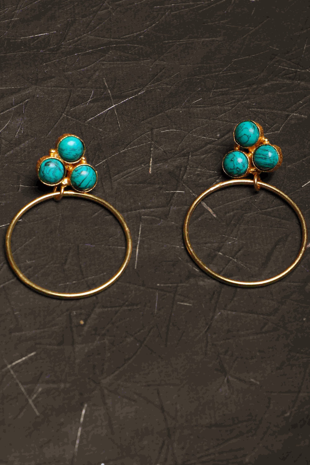 Aqua Shine III 14KT polished brass turquoise earrings a