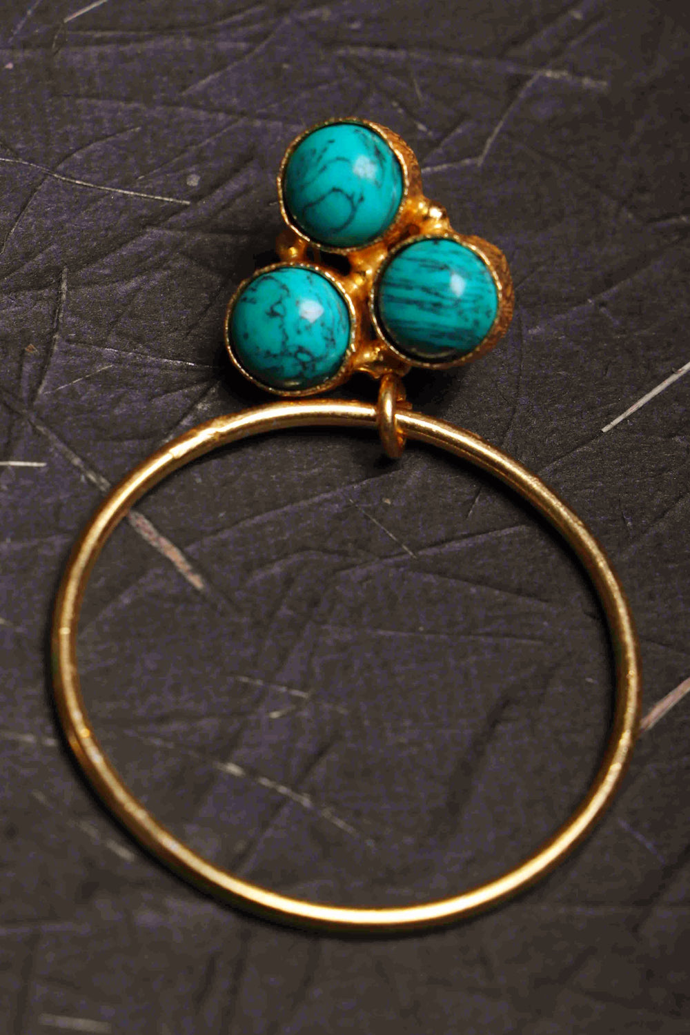 Aqua Shine III 14KT polished brass turquoise earrings b