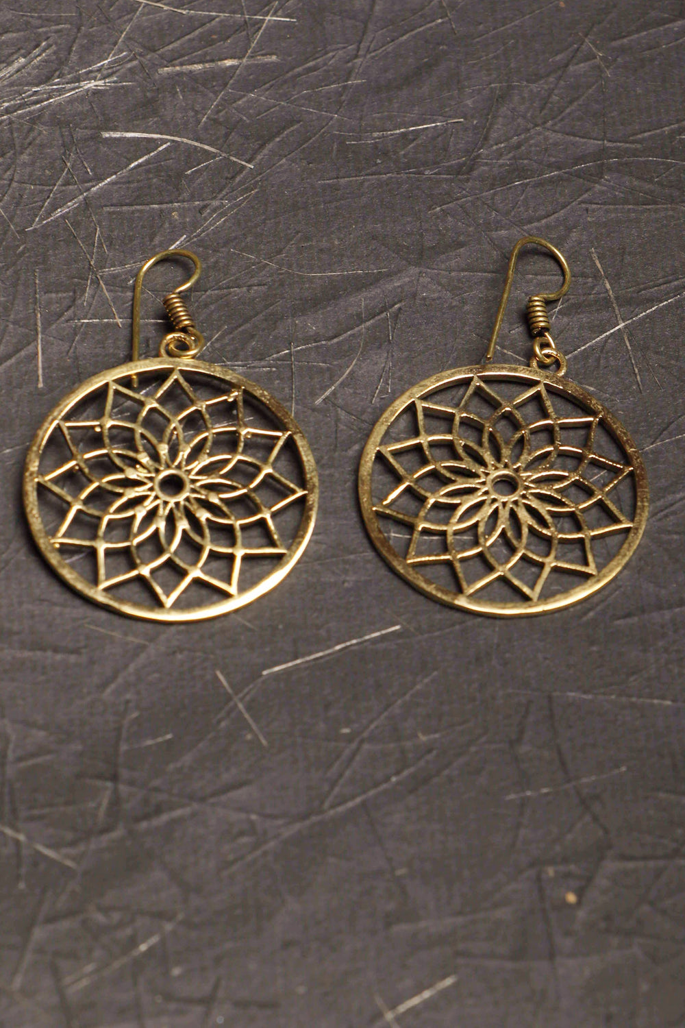 Pittalam series Phoolan IV handmade brass earrings