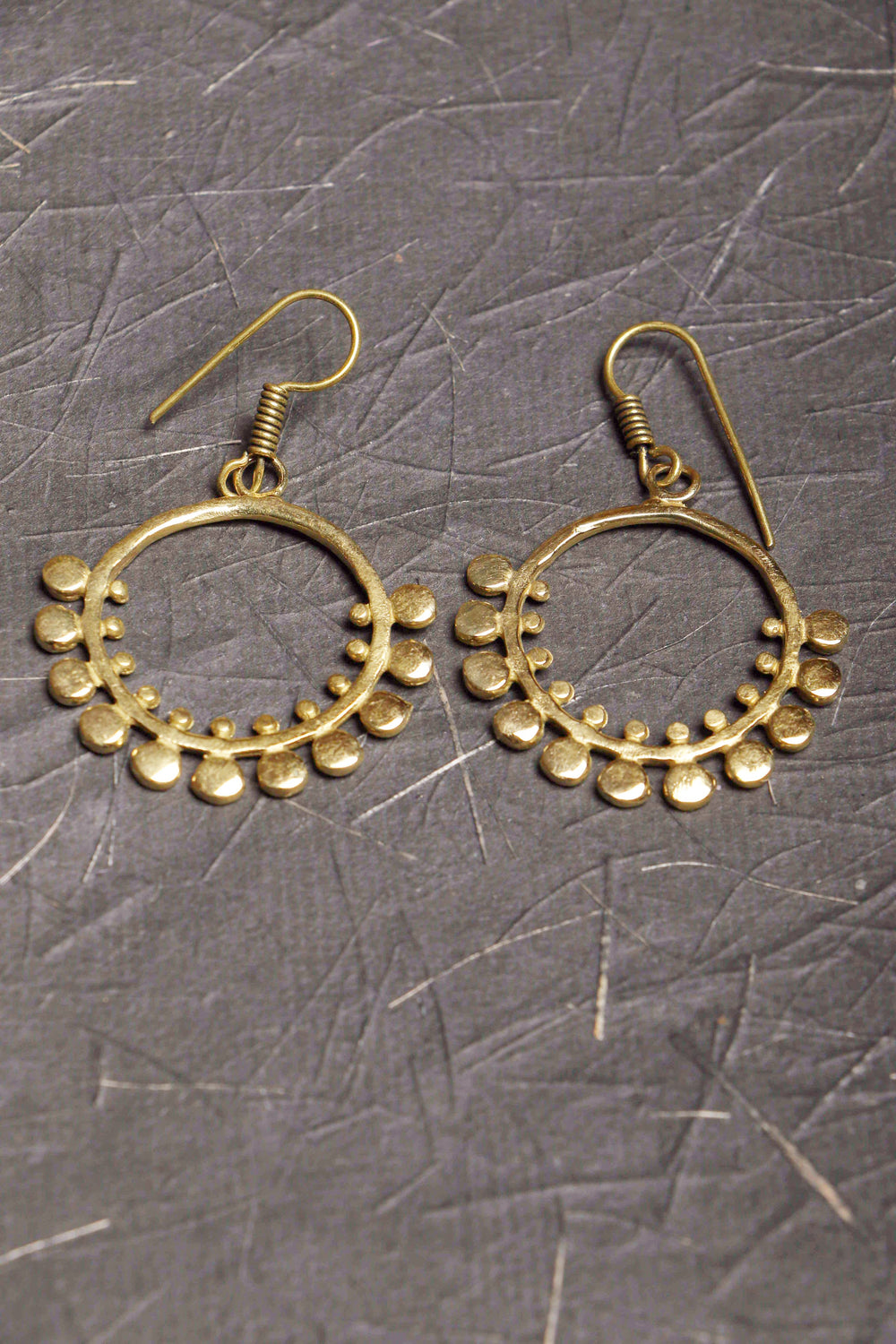 Pittalam series Bindi I handmade brass earrings