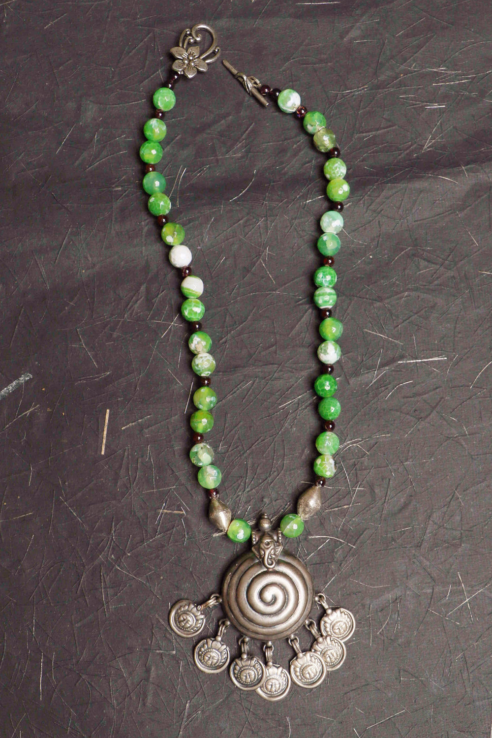 Green Agate Jewelry Necklace