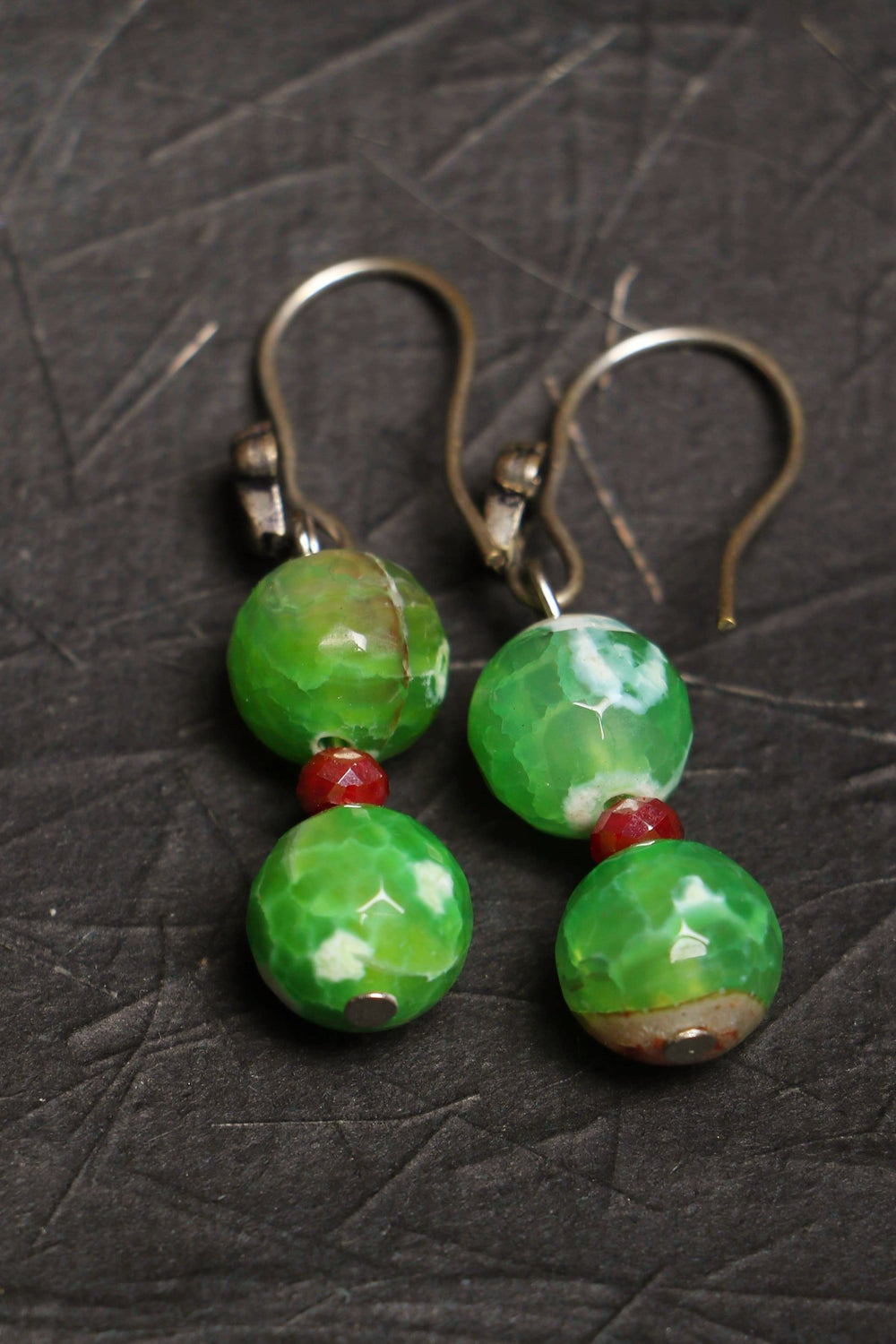 Apple green fire agate, and silver dholki beads earrings