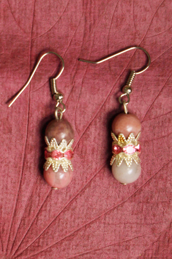 Rhodonite beads, german silver beads, and zinc alloy bail earrings