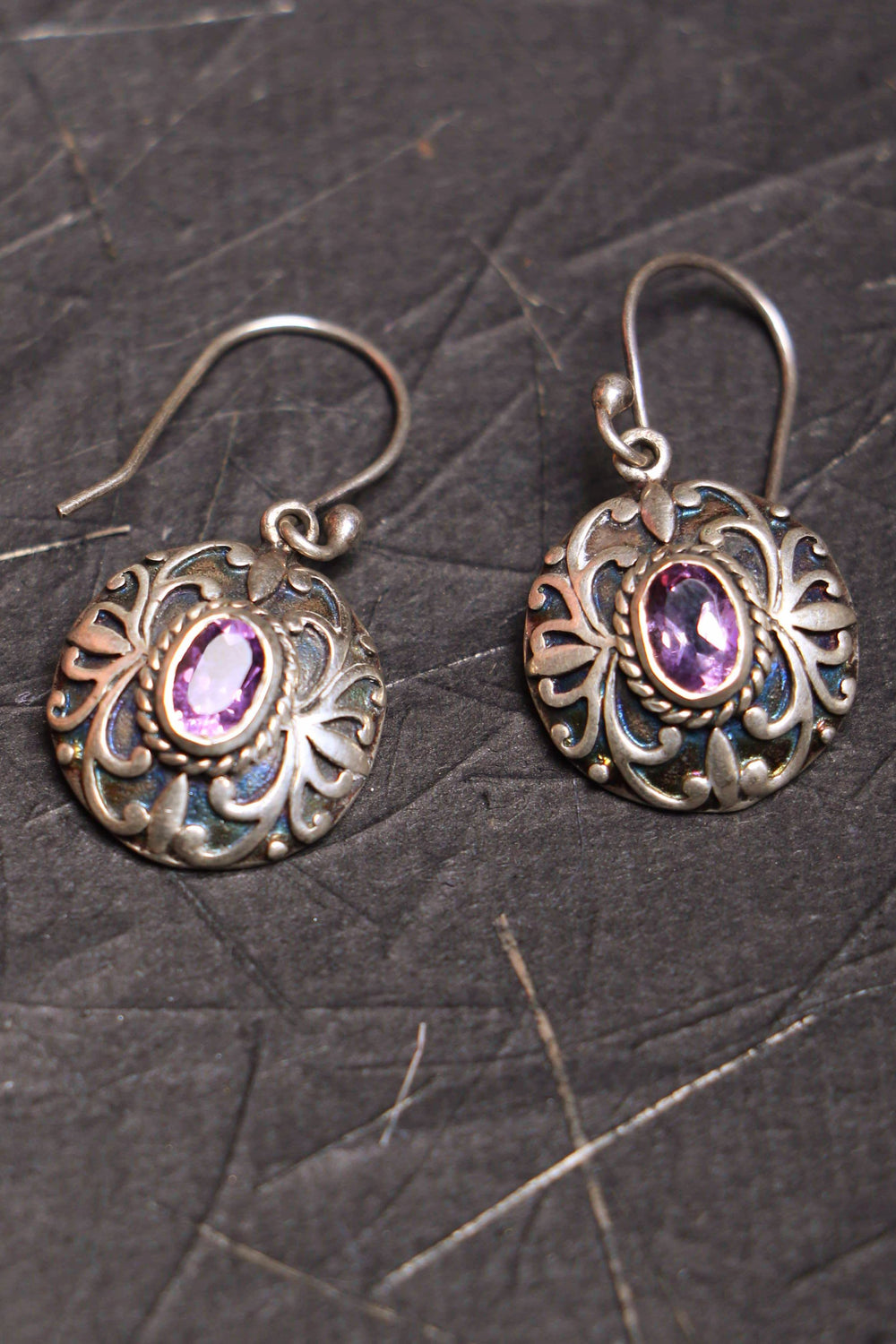 Orchid II amethyst filigree silver earrings