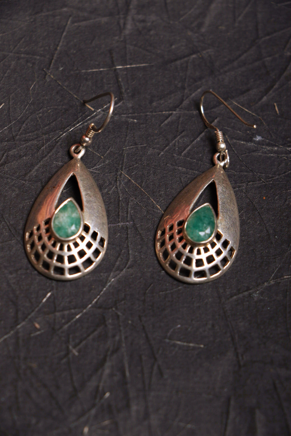Emerald drops silver earrings