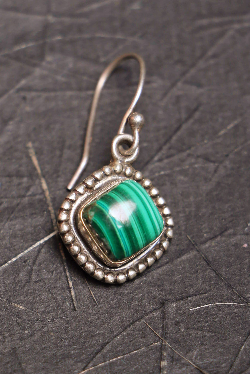 Envy I Malachite silver earrings