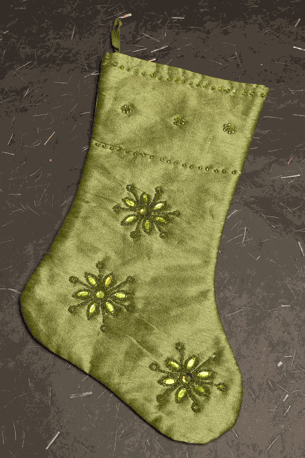 green christmas stocking with embroidery