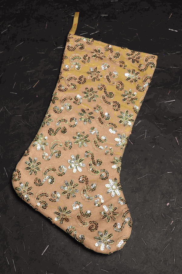 christmas stocking with tencil embroidery