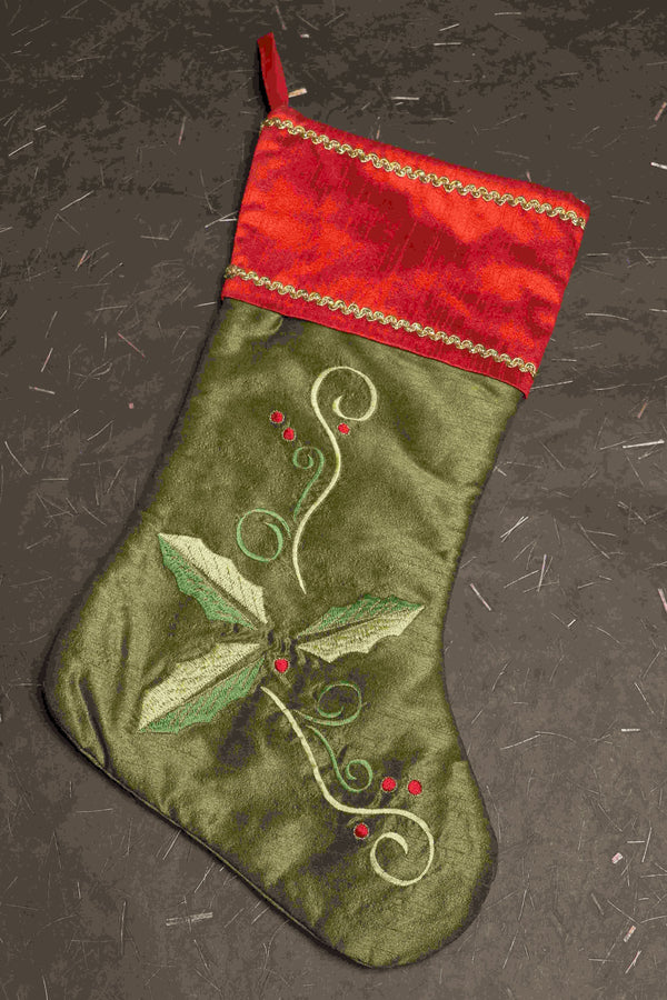 red and green christmas stocking