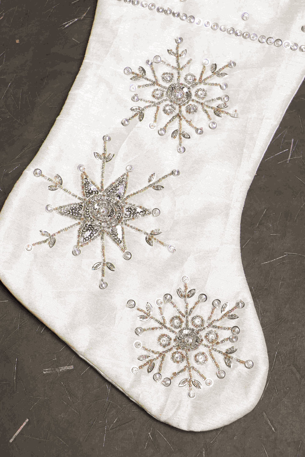 white christmas stocking with embroidery