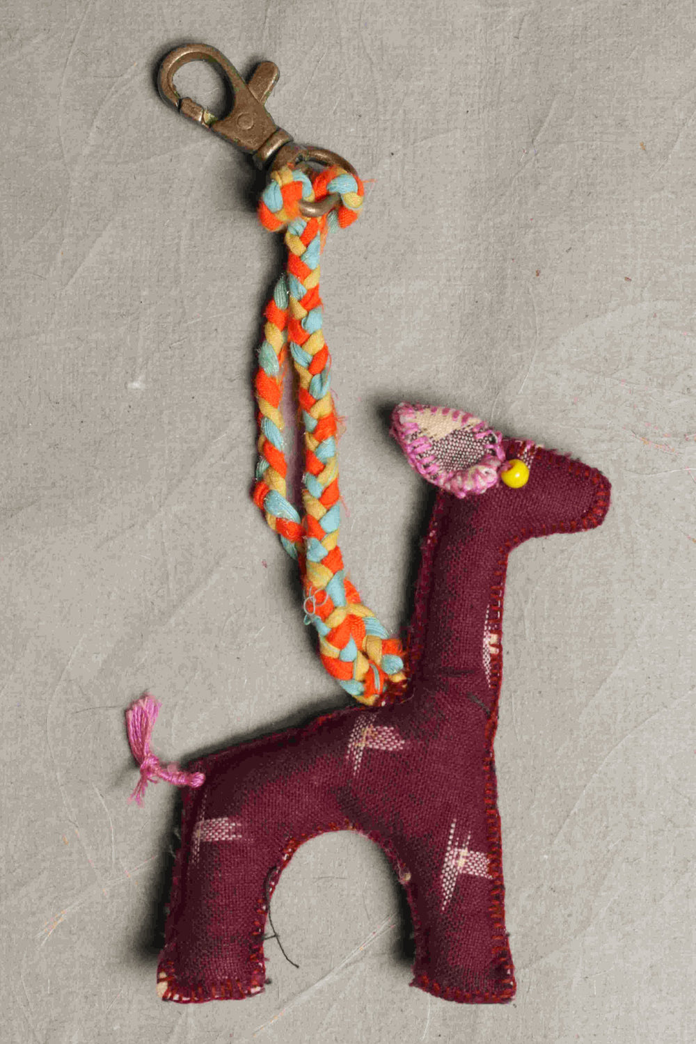 Ikkat fabric Lama car hanging or keychain