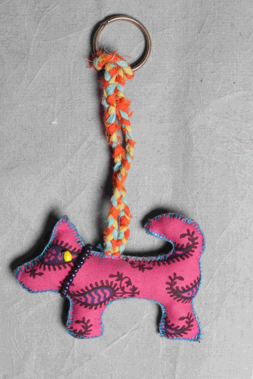 Paisley Doggie Handcrafted Fabric Car Hanging and Key Chain