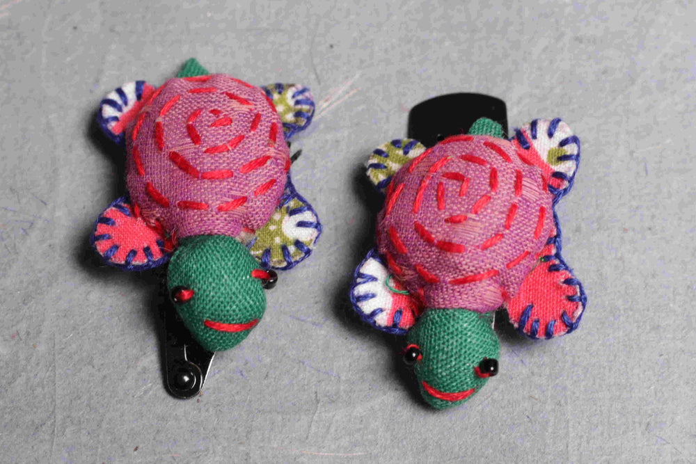 Hand stitched fabric turtle hair clip set