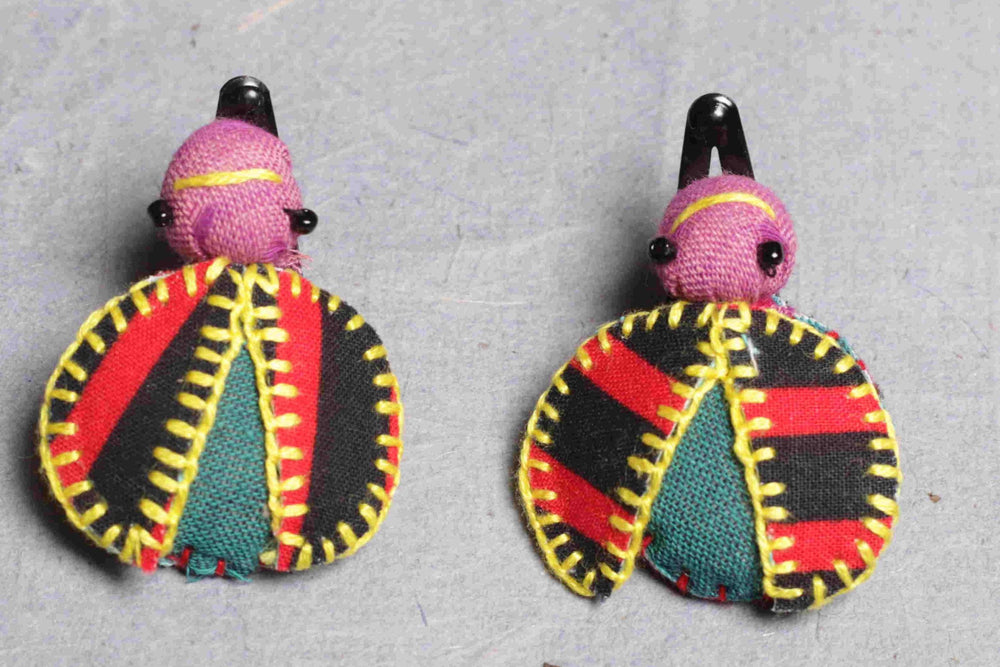 Hand stitched fabric beetle hair clip set
