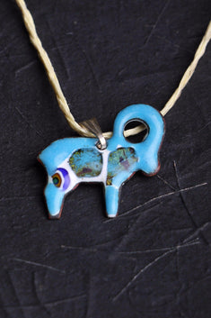 Enamel jewellery zodiac sign Aries blue pendant