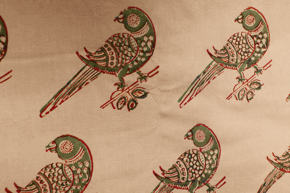 Organic cotton kalamkari handblock print with parrot motif fabric