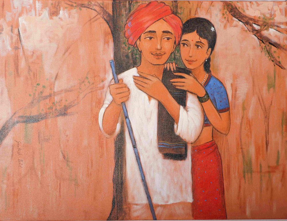 Vibrant rural life farmer couple potrait on canvas