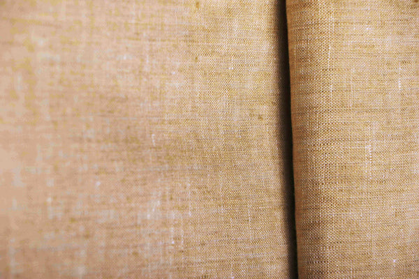 Natural linen unblended fawn fabric