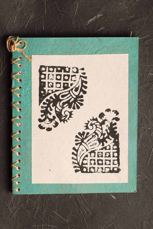 Chaap series Paisley III block print notebook small