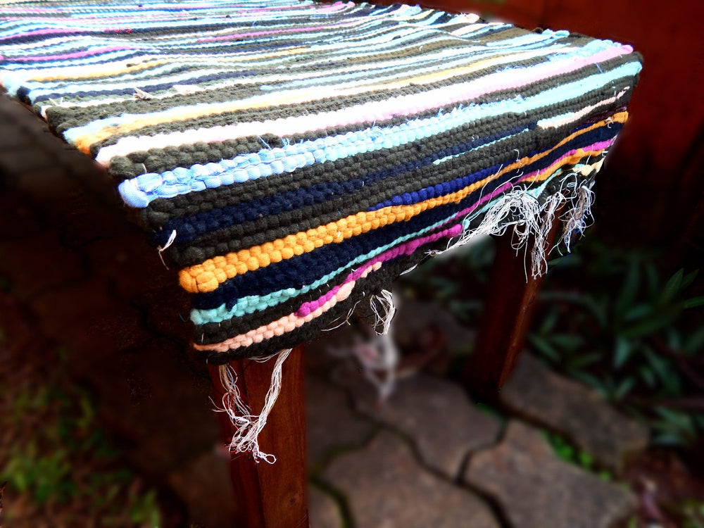 Upcycled series rangeela III table runner or bed footer mat