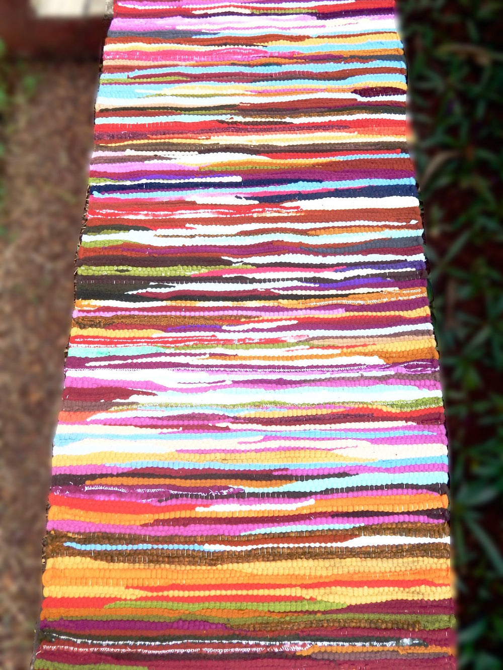 Upcycled series rangeela I table runner or bed footer mat c