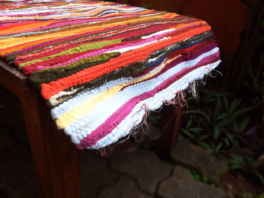 Upcycled series rangeela I table runner or bed footer mat b